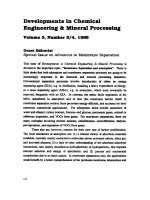 Developments in Chemical Engineering & Mineral Processing.