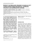 Diethyl- and dibutyltin dihalide complexes of 1-methyl-2(3H)-imidazolinethione  synthesis  structure and antibacterial activity.