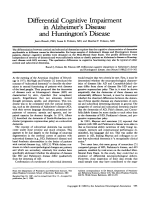 Differential cognitive impairment in alzheimer's disease and huntington's disease.