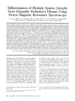 Differentiation of multiple system atrophy from idiopathic Parkinson's disease using proton magnetic resonance spectroscopy.