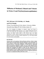 Diffusion of Methanol  Ethanol and Toluene in Nylon 12 and Poly(butyleneterephthalate).