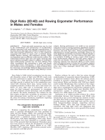 Digit ratio (2D 4D) and rowing ergometer performance in males and females.