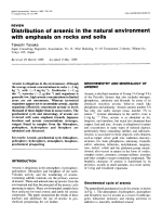 Distribution of arsenic in the natural environment with emphasis on rocks and soils.
