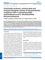 Ecofriendly synthesis  antimicrobial and antispermatogenic activity of triorganotin(IV) complexes with 4-nitrobenzanilide semicarbazone and 4-nitrobezanilide thiosemicarbazone.