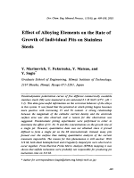 Effect of Alloying Elements on the Rate of Growth of Individual Pits on Stainless Steels.
