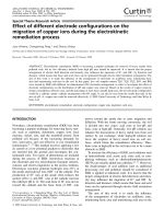 Effect of different electrode configurations on the migration of copper ions during the electrokinetic remediation process.