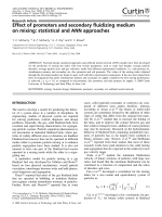 Effect of promoters and secondary fluidizing medium on mixing  statistical and ANN approaches.