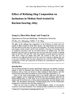 Effect of Refining Slag Composition on Inclusions in Molten Steel treated by Barium-bearing Alloy.