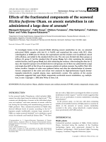 Effects of the fractionated components of the seaweed Hizikia fusiforme Okam. on arsenic metabolism in rats administered a large dose of arsenate