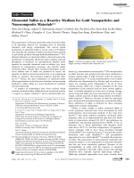 Elemental Sulfur as a Reactive Medium for Gold Nanoparticles and Nanocomposite Materials.