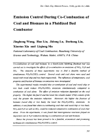 Emission Control During Co-Combustion of Coal and Biomass in a Fluidized Bed Combustor.