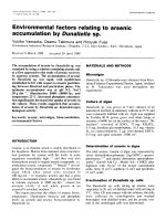 Environmental factors relating to arsenic accumulation by Dunaliella sp.