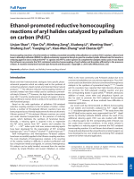 Ethanol-promoted reductive homocoupling reactions of aryl halides catalyzed by palladium on carbon (PdC).