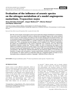 Evaluation of the influence of arsenic species on the nitrogen metabolism of a model angiosperm  nasturtium  Tropaeolum majus.