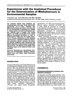 Experiences with the analytical procedures for the determination of methylmercury in environmental samples.