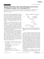 Experimental Evidence That a DNA Polymerase Can Incorporate N7-Platinated Guanines To Give Platinated DNA.