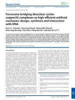 Ferrocene-bridging dinuclear cyclen copper(II) complexes as high efficient artificial nucleases  design  synthesis and interaction with DNA.