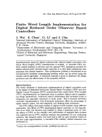 Finite Word Length Implementation for Digital Reduced Order Observer Based Controllers.