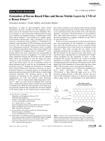 Formation of Boron-Based Films and Boron Nitride Layers by CVD of a Boron Ester.
