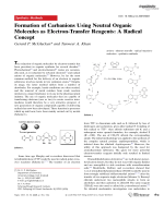 Formation of Carbanions Using Neutral Organic Molecules as Electron-Transfer Reagents  A Radical Concept.