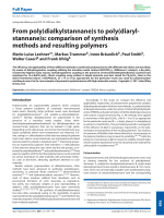 From poly(dialkylstannane)s to poly(diarylstannane)s  comparison of synthesis methods and resulting polymers.