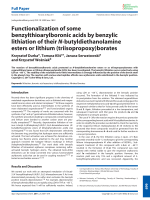 Functionalization of some benzylthioarylboronic acids by benzylic lithiation of their N-butyldiethanolamine esters or lithium (triisopropoxy)borates.