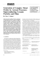 Generation of Complex Metal Oxides by Aerosol Processes  Superconducting Ceramic Particles and Films.