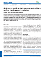 Grafting of maleic anhydride onto carbon black surface via ultrasonic irradiation.