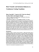 Heat Transfer and Inclusion Behavior in Continuous Casting Tundishes.