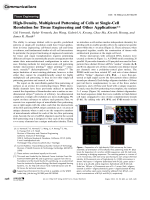 High-Density  Multiplexed Patterning of Cells at Single-Cell Resolution for Tissue Engineering and Other Applications.