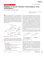 Highlights in Steroid Chemistry  Total Synthesis versus Semisynthesis.