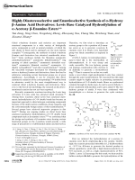 Highly Diastereoselective and Enantioselective Synthesis of -Hydroxy -Amino Acid Derivatives  Lewis Base Catalyzed Hydrosilylation of -Acetoxy -Enamino Esters.