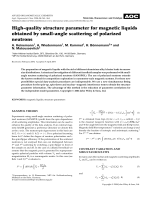 High-quality structure parameter for magnetic liquids obtained by small-angle scattering of polarized neutrons.