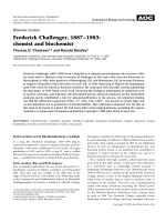 Historic review  Frederick Challenger  1887Ц1983  chemist and biochemist.