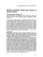 Hybrid Automaton Model and Control of Hybird Systems.