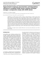 Improvement in biomass characteristics and degradation efficiency in modified UASB reactor treating municipal sewage  a comparative study with UASB reactor.