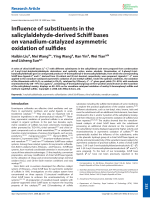 Influence of substituents in the salicylaldehyde-derived Schiff bases on vanadium-catalyzed asymmetric oxidation of sulfides.