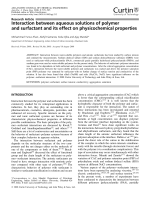 Interaction between aqueous solutions of polymer and surfactant and its effect on physicochemical properties.