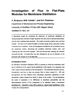 Investigation of Flux in Flat-Plate Modules for Membrane Distillation.