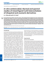 In-vitro antimicrobial  thermal and spectral studies of mixed ligand Cu(II) heterochelates of clioquinol and coumarin derivatives.