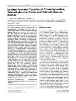 In-vitro prenatal toxicity of trimethylarsine  trimethylarsine oxide and trimethylarsine sulfide.