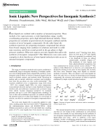 Ionic Liquids  New Perspectives for Inorganic Synthesis.