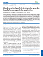Kinetic monitoring of trisubstituted organotins in soil after sewage sludge application.