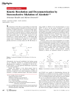 Kinetic Resolution and Desymmetrization by Stereoselective Silylation of Alcohols.