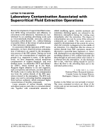 Laboratory contamination associated with supercritical fluid extraction operations.