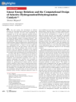 Linear Energy Relations and the Computational Design of Selective HydrogenationDehydrogenation Catalysts.