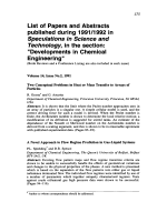 List of Papers and Abstracts published during 19911992 in Speculations in Science and Technology  in the section  УDevelopments in Chemical EngineeringФ.