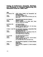 Listing of Corrferences  Symposia  Meetings  and Workshops in Chemical Engineering and Associated Areas for 19961997.