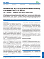 Luminescent organo-polysiloxanes containing complexed lanthanide ions.