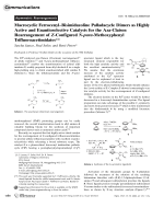 Macrocyclic FerrocenylЦBisimidazoline Palladacycle Dimers as Highly Active and Enantioselective Catalysts for the Aza-Claisen Rearrangement of Z-Configured N-para-Methoxyphenyl Trifluoroacetimidates.